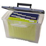Storex Portable File Box w/ Organizer Lid, Letter/Legal, 14-1/2w x 10-1/2d x 12h, Clear
