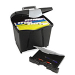 Storex Portable File Box w/Drawer, Letter Size, 14w x 11-1/4d x 14-1/2h, Latch, Black