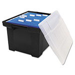 Storex Plastic File Tote, Letter/Legal Size, 14-1/2w x 19d x 11-5/16h, Snap-On Lid, BK