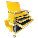 Sunex Deluxe Service Cart With Locking Top, 4 Drawers and Extra Storage - Yellow