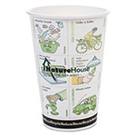 NatureHouse® Compostable Insulated Ripple-Grip Hot Cups, 16oz, White, 50/Pack