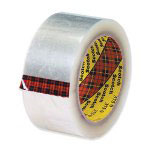 "3M 3"" x 55 Yards #375 Hot Melt Clear Carton Sealing Tape 3.0 Mil"