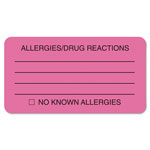 "Tabbies Allergy/Drug Reaction Label, 3-1/4""x1-3/4"", 250/Roll, Pink"