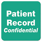 "Tabbies Patient Record Confidential Label, 2""x2"", Green"