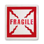 Tatco Shipping Label, Fragile, 500/RL, Red
