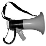 Tatco Megaphone, 800 Yard Range, Adjustable Volume, Gray/Blue