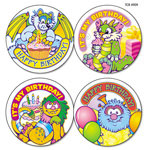 Teacher Created Resources Sticker Books, Critters Birthday Wear `Em Badges, 2 3/8""