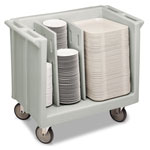 Cambro Adjustable Dish and Tray Cart, 2 Divisions, Light Gray