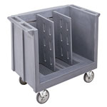 Cambro Adjustable Dish and Tray Cart, 2 Divisions, Granite Gray