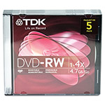 TDK DVD RW Rewritable Discs with Jewel Cases, 4.7 GB, Silver, 5/Pack