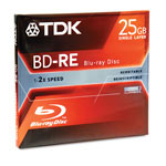 TDK Blu Ray BD RE Rewritable Disc, 2x, Jewel Case, 25GB, White