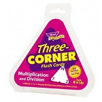 Trend Enterprises Three Corner Flash Card, Multiply and Divide, 5 1/2 Triangular