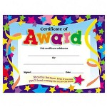"Trend Enterprises Certificate of Award Star, 8 1/2""x11"", Ready to Frame"