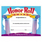 "Trend Enterprises Honor Roll Award Certificate for 3rd to 8th Grade, 8-1/2""x11"""