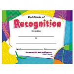 "Trend Enterprises Certificate of Recognition, 8 1/2""x11"", Ready to Frame"