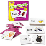 "Trend Enterprises Easy Words Puzzles, 3"" x 3"", 40Pcs, Multi"