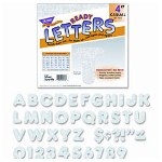 Trend Enterprises 4 Uppercase Metallics And Sparkles Ready Letters Combo, Silver Sparkle