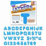 Trend Enterprises 4 Uppercase Metallics And Sparkles Ready Letters Combo, Blue Sparkle