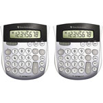 "Texas Instruments Calculators, TI-1795, Mini, Dual Power, 4-7/8"" x 5-2/3"" x 1"", 2/BD, Solar"