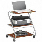 "Tiffany Office Furniture Laptop Workstation, Mobile, 3 Shelves, 23-1/2"" x 21"" x 28-1/2"", Modern Cherry"