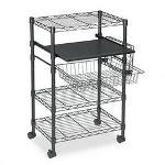 Creative Office Seating Multipurpose Wire Cart, Three Adjustable Shelves, 4 Casters (2 Locking), Black