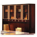 Mayline Napoli Veneer Hutch with Glass Doors, 63w x 15d x 50 1/2h, Cherry