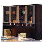 Mayline Napoli Veneer Hutch with Glass Doors, 63w x 15d x 50 1/2h, Mahogany