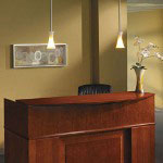Mayline Sorrento Reception Desk Screen With Veneer Counter, 72w x 38-1/2d x 15-1/4h