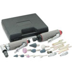 Titan Air Die Grinder Set, 19 Piece, with Straight and Angled Grinders, Stones, Collet, Wrenches, in Case