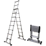 Telesteps Telescopic A-Frame Ladder, 14 ft, 375lb, 8-Step, Aluminum