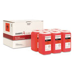 TrustMedical Sharps Retrieval Program Containers, 1.5 qt, Plastic, Red, 6/Box