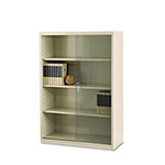 Tennsco Executive Steel 4 Shelf Bookcase with Glass Doors, 36w x 15d x 52h, Putty