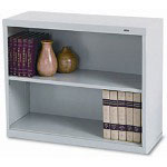 "Tennsco Gray Metal Bookcase, 28"" High, One Adjustable Shelf and One Fixed Shelf"