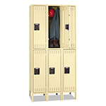 Tennsco Double Tier Locker with Legs, Triple Stack, 36w x 18d x 72h, Sand