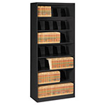 Tennsco Open Fixed Shelf Lateral File, 36w x 16 1/2d x 87h, Black