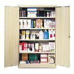 "Tennsco Double Door Storage Cabinet, requires shelves, 40"" x 19"" x 80"", Putty"