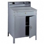 Tennsco Steel Cabinet Shop Desk, 36w x 30d x 53 3/4h, Medium Gray