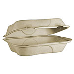 "World Centric 9 x 6 x 3"" Hoagie Box, Unbleached Plant Fiber, Compostable"