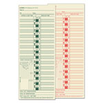 TOPS 3 1/2 x 9 Biweekly Time Cards for Lathem, Printed 2 Sides, 500/Box