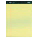 TOPS Docket Writing Tablet, 8 1/2 x 11 3/4, Legal Rule, Canary, 50 Sheets, 6/Pack