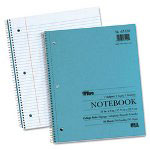 TOPS Blue Kraft Notebook, College Rule, 9 x 11, White, 50 Sheets/Pad