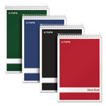 TOPS Steno Book with Assorted Colored Cover, 6 x 9, White Paper, 4 80-Sheet Pads/Pack
