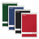 TOPS Steno Book with Assorted Colored Cover, 6 x 9, Green Tint, 4 80-Sheet Pads/Pack