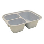 "World Centric 10 x 7.5 x 3 "" deep 3-Compartment Tray, Unbleached Plant Fiber, Compostable"