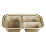 "World Centric 9.8 X 7.5"" 3-Compartment Trays, Unbleached Plant Fiber, Compostable"