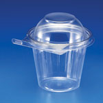 Inline Plastics Safe-T-Gard 12oz cup with a Tear Strip lock, dome lid