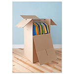General Brown Corrugated Wardrobe Moving/Storage Boxes, 67 5/8 x 45 x 32h, 5/Bundle