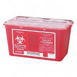 Unimed-Midwest SCSM019814 Red Biohazard Infectious Container for Sharp Objects, 4 Quarts