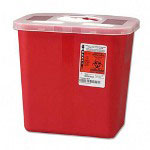 Unimed-Midwest SRRO100970 Red Biohazard Sharps Container with Rotor Lid, 2 Gallon