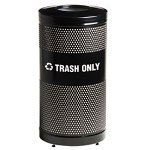 United Receptacle Round Metal Indoor Trash Can, 25 Gallon, Black